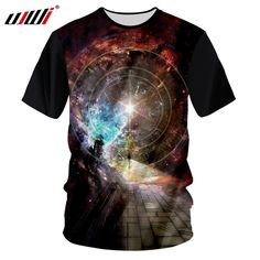 UJWI Black Tshirt Men 2018 Summer Tops Galaxy Space Star Printed 3d T-shirts  Male 73411aa5f41