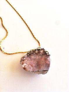 Druzy crystal rock necklace pink quartz raw natural by Borcik, jewelry, druzy necklace, pretty, minimalist, natural beauty, etsy necklace, boho, bohemian, hippie, hipster, crystal