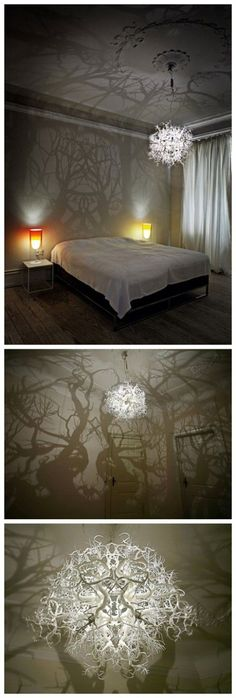How to make forest inspired DIY tree branch shadow chandelier . Incredible chandelier casting a forest of shadows. With my love of shadow art I don't just want I NEED this in my life! Diy Tree, Crafts To Make, Fun Crafts, Diy Luz, Diy Para A Casa, Diy Chandelier, How To Make Chandelier, Chandelier For Bedroom, Empire Chandelier