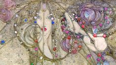 Painting of two women's faces in the art nouveau style, with stylised roses  Maragret MacDonald