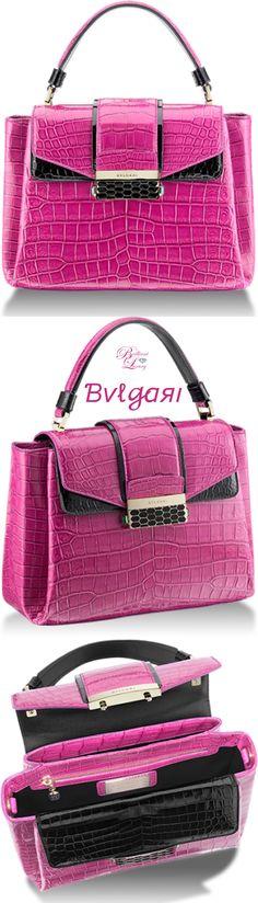 Bvlgari Viper Top Handle Bag in raspberry agate and black shiny crocodile skin