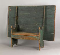 """Large painted pine bench table, ca. 1800, retaining its original green surface, 28"""" h., 64"""" w., 42 1/2"""" d."""