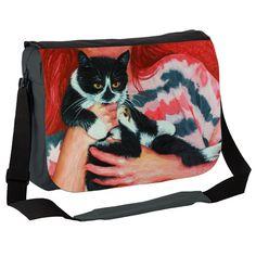 Black White Cat and Beth Messenger Bag by simon-knott-fine-artist at zippi.co.uk