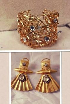 gold frost earing n cuff available @ www.facebook.com/jewelsuhana