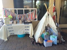 Tribal baby shower.. I like the gift teepee!