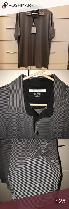 Polo golf shirt Hit the golf course in style with this Greg Norman signature series shirt. Black and gray striped collared shirt. greg norman Shirts Polos