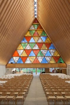 Cardboard Cathedral in New Zealand.   Constructed as simple A-frame structure from 98 equally sized cardboard tubes and 8 steel shipping containers, it is said to be one of the safest, earthquake-proof buildings in Christchurch.