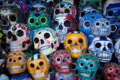 day of the dead skulls holiday colorful skulls in mexico