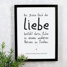 personalisierter Bilderrahmen – Das große Glück der Liebe personalized picture frame The great happiness of love framed love poem with individual additional text Souvenirs Ideas, Personalized Picture Frames, Love Poems, Letter Board, Hand Lettering, German, Marriage, Presents, Birthday Gifts