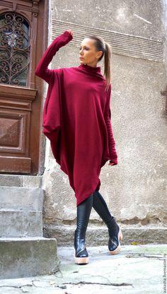 платье ассиметричное яркое платье теплое шерстяное платье вязаное платье туника