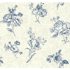Waverly Cottage Cream, Pearlescent Ivory, Ink Blue And White Picture Perfect