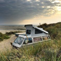 Our last few nights camped in the dunes on the northern France coast before heading home. #Volkswagen #vw #vwt25 #vwt3 #vanagon #westy…