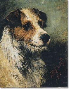 John Emms - Jack Russel Head Study 1893 - Approximate Original Size - 9x7 - Sporting Equine Canine Paintings Prints Art Artist Painting
