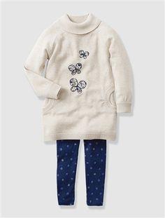 Conjunto vestido e leggings, para menina BRANCO CLARO LISO COM MOTIVO