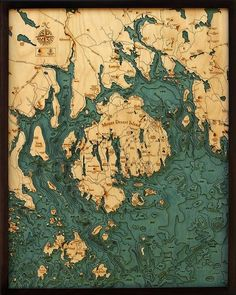 WoodChart's beautiful map of Bar Harbor/Mount Desert Island. A nautical wood map featuring Bar Harbor and Mount Desert Island, Maine. Dungeons And Dragons, Mount Desert Island, Island Bar, Eagle Lake, Bar Harbor Maine, 3d Cnc, Lake Art, Nautical Chart, Fantasy Map