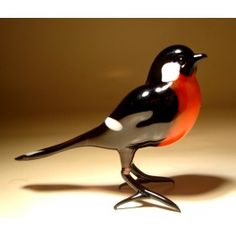 Glass Bullfinch Bird $23.95 http://www.glasslilies.com/129-glass-bullfinch-bird.html #Glass #Bullfinch #Bird #GlassArt #Figurine #Gifts #BlownGlass
