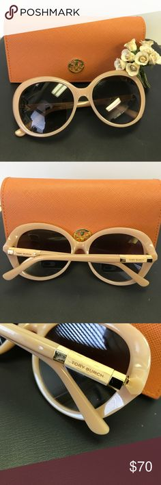 Exclusive Tory Burch Sunglasses 😎 Tory Burch Bold & Fashion forward design-Celebrity Style Eyewear, Classic Oval with pyramid arms, signature on the temples, dimensions: 56mm-17mm-135mm, Authentic, come with TB Case, case has a very tiny white smudge on back bottom corner barely noticeable see last pic, new only worn to model Tory Burch Accessories Glasses