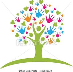 Relationship Tree with hands and hearts figures - stock illustration, royalty free illustrations, stock clip art icon, stock clipart icons, logo, line art, EPS picture, pictures, graphic, graphics, drawing, drawings, vector image, artwork, EPS vector art
