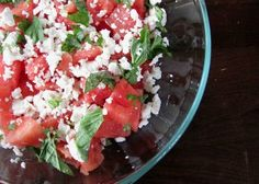 Recipe! Watermelon Feta Salad Watermelon Feta Salad  6 cups watermelon cut into bite-sized cubes  2 cups feta, crumbled  ½ cup fresh mint, chopped medium