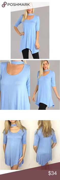 "✨1HRSALE Beautiful BabyBlue Choker Tunic Dress SML Simply beautiful choker tunic dress in baby blue. Asymmetrical hem adds extra flare to this stretchy, flowy lightweight piece. Made in USA 96% rayon/4% spandex   Small Bust 32-34-36 Length 33"" Medium Bust 36-38 Length 34"" Large Bust 38-40 Length 35"" ruffle hem Tops"