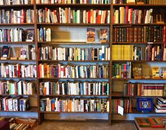 Wall of books at Nostalgia. Downtown Knoxville, Tennessee.