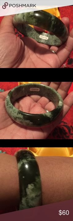 Dark green and light green Chinese jade bangle Beautiful and unique dark and light green Chinese jade bangle. 59mm diameter. This is for good luck and fortune Jewelry Bracelets