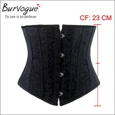Burvogue Woman Waist Cincher Corselet Body Shaper Sexy Waist Control underbust Corsets  Bustiers Black Satin Steel Bone Corset Like if you are Excited! Visit our store
