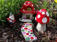 Fairy garden set - toadstool house/ door, mushroom, path, gnome, letterbox