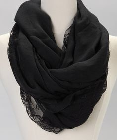 The Accessory Collective Black Lace Infinity Scarf by The Accessory Collective #zulily #zulilyfinds