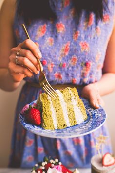 Matcha Cake with Black Sesame Cream Cheese and Matcha Meringues