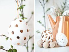 Edel sind die weißen Ostereier mit Kupfer-Konfetti oder Kupfer-Dreiecksschnipseln von der Website pink-e-pank.de