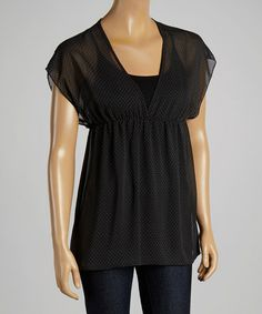 Another great find on #zulily! Black & White Polka Dot Top #zulilyfinds