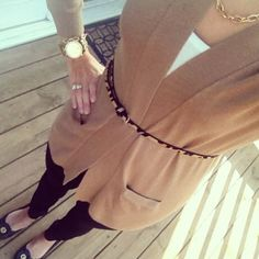 J.Crew Pixie pants, camel sweater, leopard belt and simple gold accessories = comfy chic fall outfit