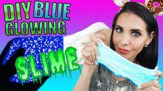 DIY Glow In The Dark BLUE GLITTER Slime NO BORAX - EASY SLIME RECIPE