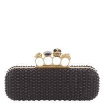 Alexander Mcqueen: Black silk satin knucklebox clutch with all-over beading and gold finish hardware with Swarovski crystal rings. good idea!