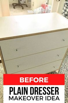 Want to a quick upcycling dresser project? Check out this cheap before and after makeover idea of this Ikea dresser using no paint, for this boys room decor on a budget. #diy #dresser #makeover
