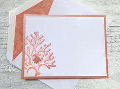 Notecards Personalized Stationery with sea inspired coral