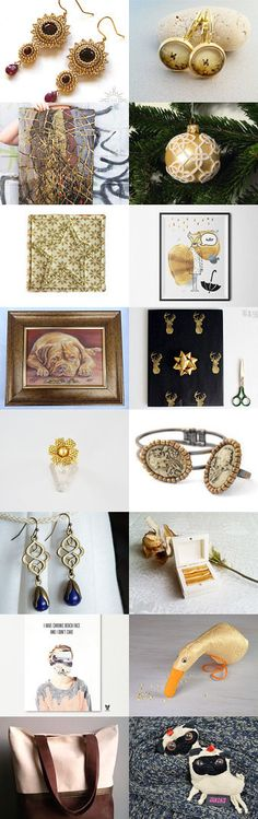 Gold gifts for Christmas by poletsy on Etsy--Pinned with TreasuryPin.com