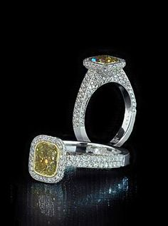 Fancy yellow diamond in pave mounting.  By Bez Ambar.