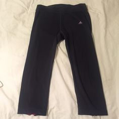 Adidas Black & Pink Capri Pants sz. M These adidas are in excellent condition with no flaws. They come with a small hidden packet inside and zippers and the end of the pants. Feel free to ask any questions! Adidas Pants Ankle & Cropped