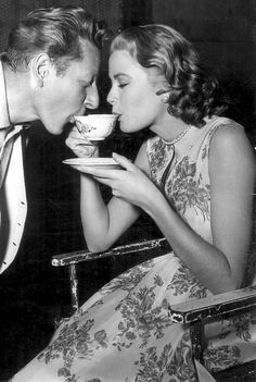Danny Kaye And Grace Kelly Share A Cup Of Tea