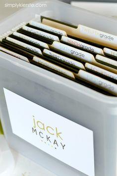School Papers Storage | simplykierste.com