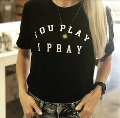 YPIP Black Tee   You Play I Pray Volleyball Mom Shirts, Sports Mom, Staple Pieces, T Shirts For Women, Tees, Pray, Model, How To Wear, Gift Ideas