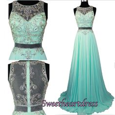 Cute round neck sequins top mint chiffon two pieces prom dress, long formal dress for teens #coniefox