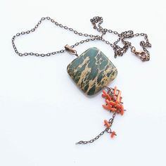 Green red necklace  jasper coral and copper jewelry by arrabeska