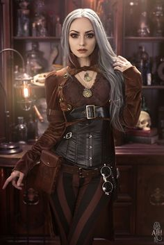A guide to Steampunk fashion: costume tutorials, Steampunk clothing guide, cosplay photo gallery, updated calendar of Steampunk events, and more. Moda Steampunk, Steampunk Couture, Style Steampunk, Gothic Steampunk, Steampunk Clothing, Steampunk Hair, Victorian Gothic, Steampunk City, Steampunk Necklace