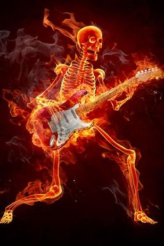 flaming-skeleton-guitar-art-muisc.jpg (640×960)