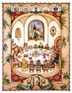 Family celebration at the Shabbat Table ~ Michoel Muchnik Arts