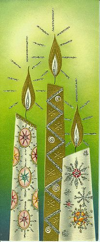 Vintage Christmas Card. This card composition is normally boring, but this one is amazing thanks to the fab color and the intricacy of the design on the candles. Brilliant.