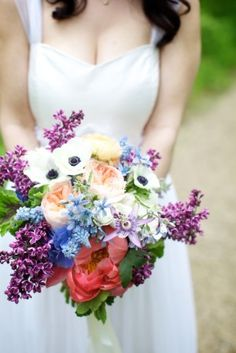 Gorgeous flowers! Love the purple and coral